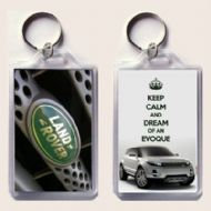 KEEP CALM and DREAM OF AN EVOQUE Range Rover with Land Rover Badge Keyring